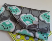 Birth Control Case Sleeve/ Id wallet with Snap Closure - Aqua flowers on grey