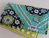 Birth Control Case Sleeve/ Id wallet with Snap Closure - Navy flowers