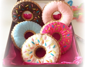 Felt Donuts, 6 Donuts, Felt Food, Play Food, Half Dozen