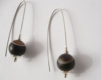 sterling silver dangle and drop agate earrings