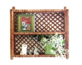 Natural Wicker Wall Unit Wood and Wicker Shelves Free Standing Beach Cottage Chic Decor