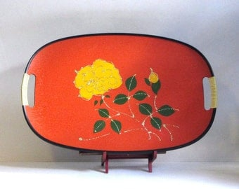 Mid Century Yellow Flower Platter Wrapped Handles Vibrant Orange Enesco Kitchen Dining Decor