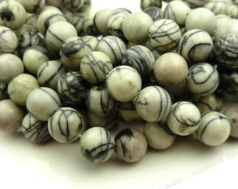8mm Black Silk Stone Natural Gemstone Beads - 16 Inch Strand - Round, Black and Gray Beads - BC28