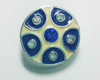 1 PC 18MM Beige Blue Silver Candy Snap Charm Limited Edition CC1053