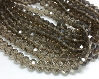 1 Bead Strand - 6x8mm Gray Rondelle Glass Crystal Beads BD0050