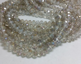 1 Bead Strand - 4x6mm Gray Rondelle Glass Crystal Beads BD0126
