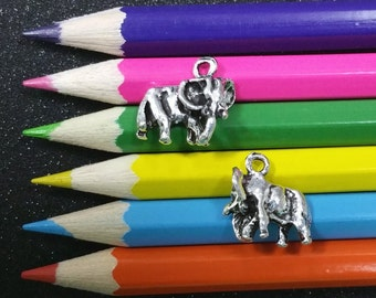 5 PCS - Elephant Animal Zoo Safari Silver Charm Pendant C1214