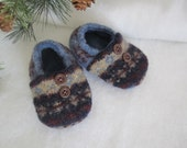 Infant's wool slippers Fair Isle weave fleece-lined 6-9 mos. OOAK  RTS Baby shoes