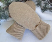 Men's camel colored lambswool mittens size medium - small fleece-lined RTS