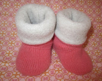 Infant or toddler cashmere sock booties peach color size 6 to12mos. Fleece lined RTS  sock booties