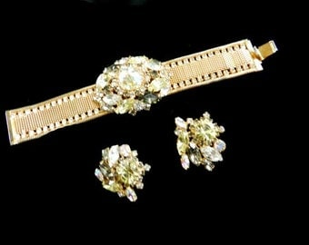 Spectacular Hobe 1950s Bracelet and Earrings