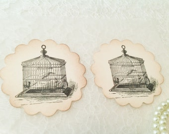 Bird Cage Seal-Bird sticker label-Bird Cage Favor Tag Label-Set of 12