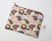 Coin purse, change purse, cream with hedgehogs, autumn, fall, woodland print, wildlife print