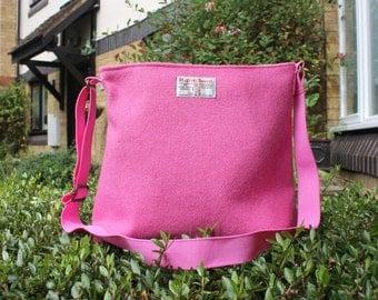 Harris Tweed bag, crossbody bag, Tweed purse, pink Harris tweed cloth