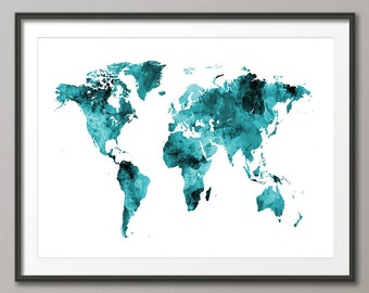 Watercolor Map of the World Map, Art Print (2400)