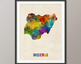 Nigeria Watercolor Map, Art Print (2144)