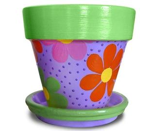 Flower Power Hand Painted Flower Pot
