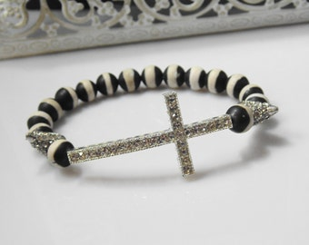 Black and White Cross and Spike Bracelet