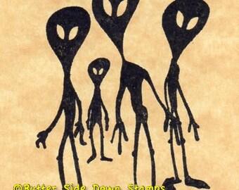 UFO Alien Visitors Rubber Stamp