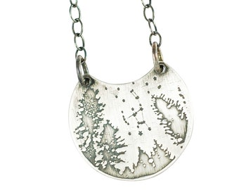 """Small Night sky """"Orion""""  Sterling Necklace"""