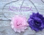75% Off Hair Headband Set of 2 Shiny Pink and Purple Shabby Headbands / Baby Hair/ Wedding/ Photo Prop