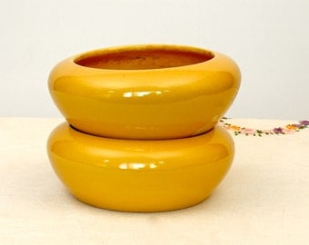 50's/60's Vintage Bauer Pottery, Yellow Planter Bowls