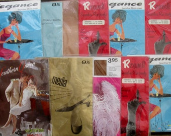 1960s Panty Hose Stockings Tights Nylons Hosiery Set of Ten Packets of European Stockings in Natural