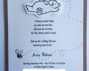 Honey Bear -Neutral Gender- Baby Shower Invitations