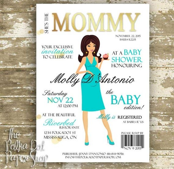 Fashion Book Cover Page ~ Baby shower invitations with cute high fashion magazine cover
