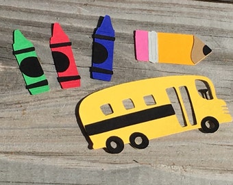School Time Die Cut Set - 5 Piece Set (School Bus, Crayons and Pencil)- Scrapbooking/School Days/Decorations - 3 Sizes to Choose From