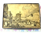 Collectable vintage biscuit / toffee / candy tin: Edward Sharp & Sons with a detailed picture of Maidstone Market 1827