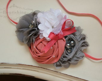 Coral and Grey headband, coral headbands, newborn headbands, vintage headbands, grey headbands, photography prop