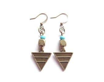 Geometric Earrings, Triangle Earrings, Boho Earrings, Boho Jewelry, Turquoise Boho Earrings, Dangle Boho Earrings,Brass Boho Earrings
