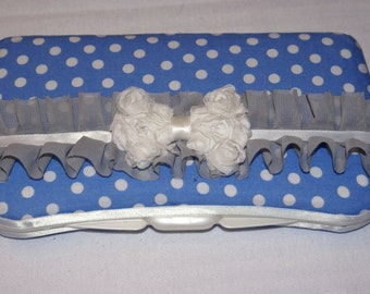 Blue and White Polka Dot Fancy Baby Wipe Case