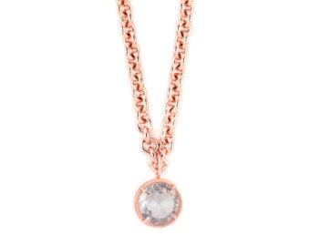 Long Rose Gold Necklace - Long Gold Pendant Necklace - Natural Gemstone Necklace - Long Necklace - Rose Gold Chain Necklace - Wrap Necklace