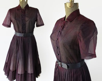 50s Shirtwaist Dress, Sheer Purple, Fit and Flare, Pin Up, Rockabilly