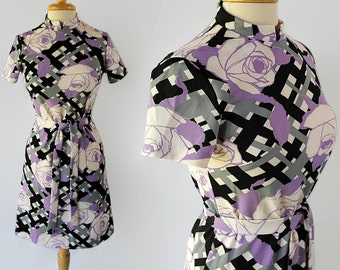 60s 70s Mod Wiggle Dress, Abstract Print, Novelty Print, Sears Fashions