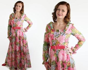 70s California Calliope Dress Maxi Prom Vintage Wedding Pink Floral Print