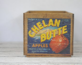 Vintage Wood Crate Fruit Crate Chelan Butte Apples Crate Vintage Wood Box