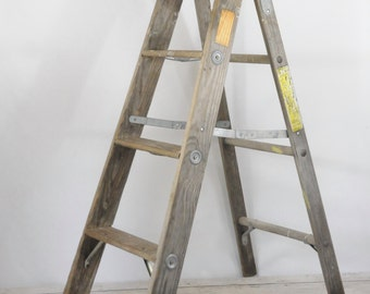"""Vintage 44"""" Wood Ladder Step Ladder Perfect Step Ladder Shelf"""