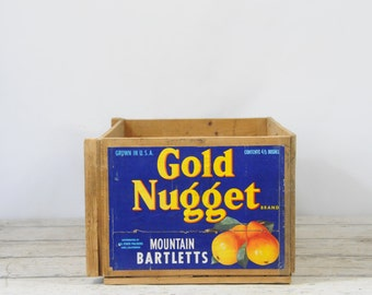 Vintage Gold Nugget Mountain Bartlett Pears All State Packers Lodi California  Wooden Box Crate