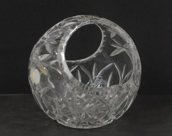 Vintage Crystal Basket With Handle Bowl Candy Dish