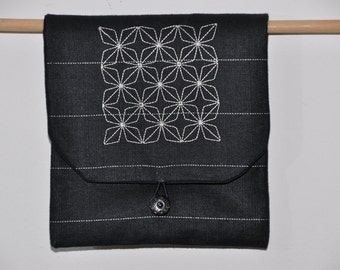 linen embroidered pouch