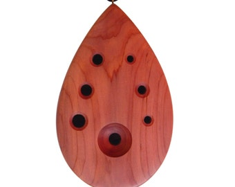 Tear Drop Ocarina - Cedar Flute - Necklace & Bag Included -