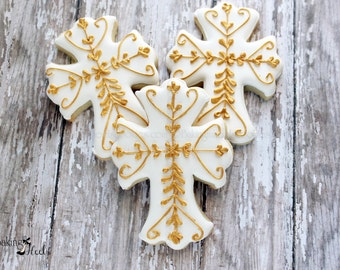 Cross Decorated Cookies, Baptism, First Communion Cookies, Christening Cookies, Communion Cookies, My first Communion, Baby Shower cookies