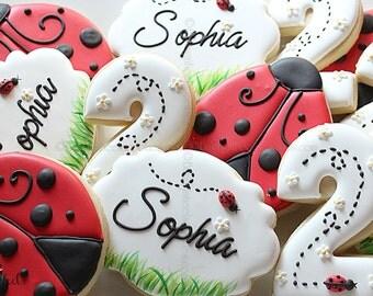 Ladybug Birthday Party Cookies, Birthday Cookies,Ladybug Cookies, Ladybug Number Cookies, Daisy Flower Cookies, Red and Black Polka dot