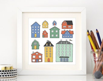 Swedish homes - Square Hand Drawn Illustration Print - stockholm buildings - homes in sweden - scandi architecture - home decor