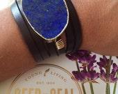 Stone leather wrap infuser bracelet