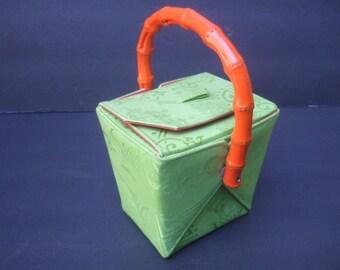 "Whimsical Green Cloth ""Carry Out"" Box Shaped Handbag"