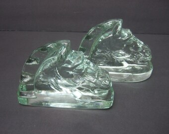 Heavy Glass Horse Head Bookends c 1950